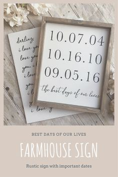 Rustic wooden sign with important dates showing the best days of our lives #affiliate #farmhouse #rustic #importantdates #bestdays #woodensign...