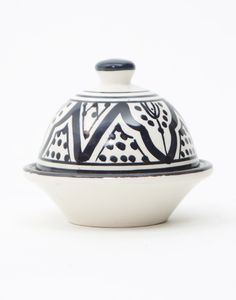 Safi Butter Bowl with Lid in Ink