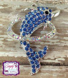 Blue Dolphin Rhinestone Chunky Bead Pendant Bling Bubblegum necklace pendant