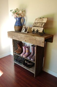 Console Table. Shoe Storage. Wood Entry Table Farm House Recycled Cedar 36 x 11 x 30 -- probably something smaller than this, but think of a table that has a couple of tiers below it for shoes as Evan comes in the back from his car