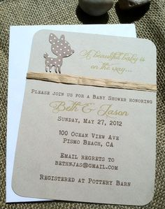 Baby Shower Invitation - Deer - Brown Polka Dots - Green - Woodland - Hand-Crafted - Recycled - Eco