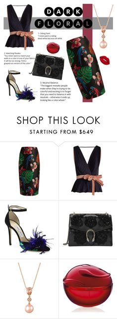 """""""Dark Floral"""" by cstarzforhome ❤ liked on Polyvore featuring Valentino, Roksanda, Jimmy Choo, Gucci and LE VIAN"""