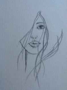 Dibujo de rostro a carboncillo por Karin Mengers, 2012