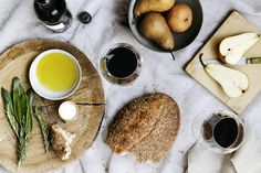 table spread bread, olive oil, pears