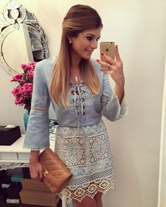 Stylish Cut Out Lace Splicing Lace-Up Denim Dress For Women