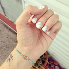 White shellac with silver based glitter ✌ nails by emmaline