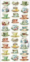 Victorian Tea Cup Stickers - Roses And Teacups