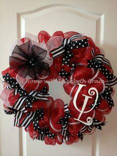 deco mesh wreaths | University of Louisville Deco Mesh Wreath. $80.00, via Etsy.