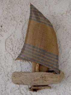 Hanging Driftwood Sailboat  Summer Decoration  by SteliosArt