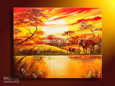 Cheap Painted Oil - Best Hand Painted Oil Wall Art African Elephant Forest Online with $41.28| DHgate
