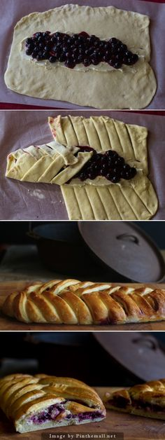 Braided Bread with Blueberry and Cream Cheese Filling(Baking Treats Gifts) Just Desserts, Delicious Desserts, Dessert Recipes, Yummy Food, Braided Bread, Blueberry Recipes, Sweet Bread, Love Food, Sweet Recipes