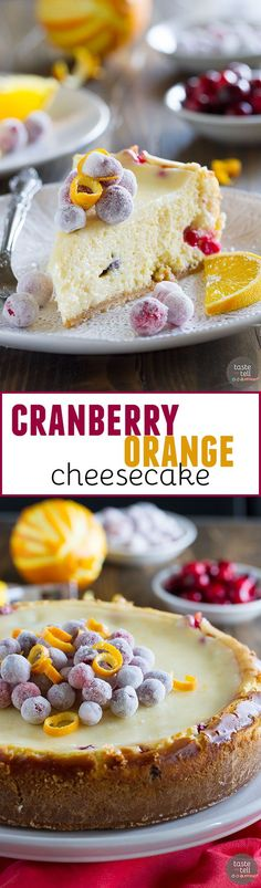 This Cranberry Orange Cheesecake is a showstopper - an orange scented cheesecake is filled with fresh cranberries, then topped with sweet sugared cranberries. It is so creamy and delicious - no one will believe that it's homemade!: