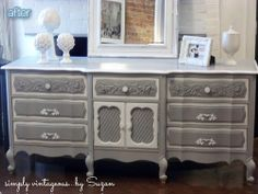 Grey and white!  Cool! Bathroom remodel using the old victrola cabinet.