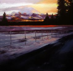 Breakthrough, 18x18, oil on canvas.  Mount Rainier on a gorgeous snowy morning. http://www.loritwiggs.com/ http://loritwiggs.blogspot.com/