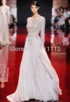 2014 New Arrival Lace Appliqued Beaded Long Sleeves Prom Dresses 2014 Long Evening Gowns Custom Made