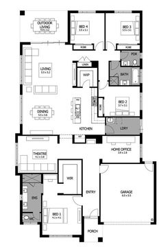 Mojo Homes - Bohemia - Floor plan Best House Plans, Dream House Plans, Small House Plans, House Floor Plans, Floor Plan 4 Bedroom, 4 Bedroom House Plans, Modern Floor Plans, Home Design Floor Plans, Narrow House Designs