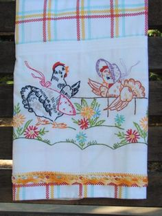 Tea Towel Vintage Linen Embroidery Farm Ranch by TwoGirlsLaughing