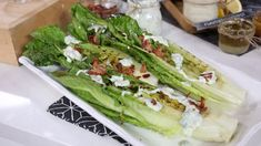Grilled romaine salad with creamy blue cheese dressing
