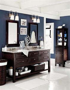 "6 tricks for making a room feel bigger; note the 3"" piece of wood running horiz around room under ceiling - adds height to room if in contrasting color; don't do overhead lights, suggest wall sconces instead"