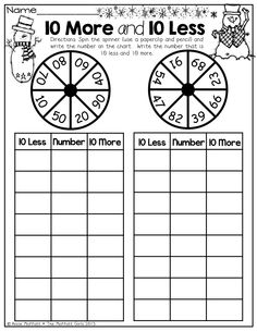 !0 More and 10 Less!  Spin the spinner with a pencil and paper clip, write the number and then write 10 less and 10 more!  How FUN and engaging!