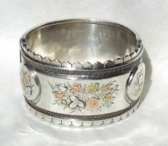 Wide Antique Victorian 1880s AESTHETIC MOVEMENT Sterling Silver Bangle Bracelet