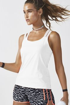 8de811c45932b Fabletics Peyton Tank Top Womens White Size XL Focus On Yourself