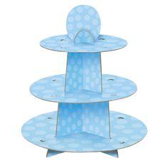 Blue Polka Dot Baby Shower Cupcake Stand: Amazon.co.uk: Kitchen & Home