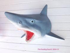 SUMMER SALE Shark Decor /Beach Decor / Shark Head by Theshabbyshak, $99.00