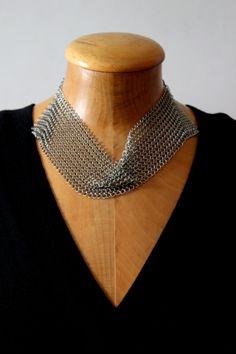Stainless Steel Mesh Neckpiece.. by metalandthread on Etsy, $95.00
