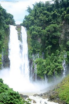 "Maria Cristina Falls is a waterfall of the Agus River on the island of Mindanao. It is sometimes called the ""twin falls"" as the flow is separated by a rock at the brink of the waterfall. Well known for its natural beauty and grandeur, the 98 meters high waterfall."