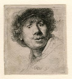 'Self Portrait with Beret and open eyes'  (etching), 1630 - Rembrandt