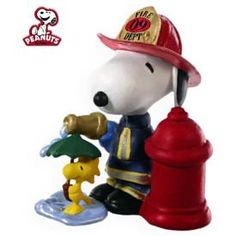 Snoopy is ready to put out any fires and Woodstock is just trying to stay dry.
