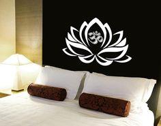 Lotus Flower Wall Decals Vinyl Sticker Decal Art Home Decor Mural Mandala Ornament Indian Geometric Moroccan Pattern Yoga Namaste Om AN361