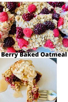 A super healthy and easy baked oatmeal that comes together in just a few minutes. It has a vanilla flavor mixed with fresh tart berries and is the perfect meal prep breakfast Baked Oats, Baked Oatmeal, Sugar Free Syrup, Dairy Free Milk, Vanilla Flavoring, Super Simple, Tart, Meal Prep, Berries