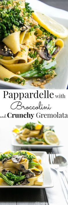 "Pappardelle with Broccolini and Crunchy Gremolata - From Ottolenghi's ""Plenty"", a quick, elegant and fabulous Vegetarian Pasta Best Vegetarian Recipes, Raw Food Recipes, Veggie Recipes, Pasta Recipes, Cooking Recipes, Healthy Recipes, Italian Dishes, Italian Recipes, Fresco"