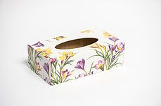 Hand decorated tissue box cover made of wood measuring long wide and high .Beautiful unique tissue box would make a perfect gift and finished to a very high standard . Also available in a waste bin