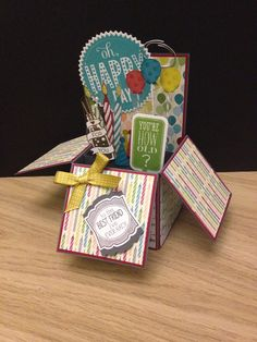 Card-in-a-Box Stampin, Up! Birthday Basics, Cycle Celebration, Sketched Birthday, Just Sayin', Starburst Sayings.