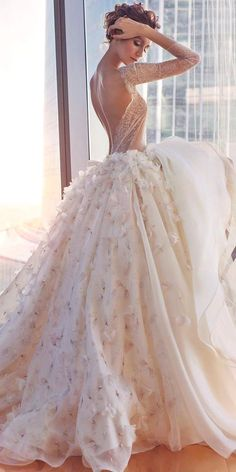 Floral applique full skirt wedding gown with long sleeve lace plunge back backless top. 3-d floral wedding dresses 5