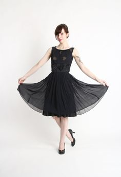 Hey, I found this really awesome Etsy listing at https://www.etsy.com/listing/170018369/1950s-chiffon-dress-lbd-cocktail-gown