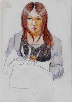 『睫毛の長いお姉さん(通勤電車でスケッチ)』 It is a sketch of a woman wearing a gray cardigan. I drew on the train going to work towards the company.