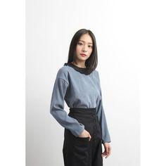 Chiffon Pleat Collar Trim Flannel Top