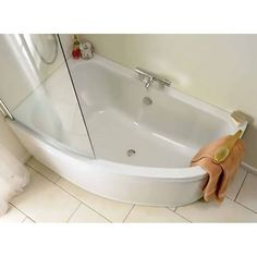 Clia Left Hand Corner Offset Bath with Front Curved Bath Panel and Clear Glass Screen - 23-179/1
