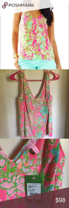 NWT LILLY PULITZER COSMOS TOP MULTI LOVERS CORAL SILK S,L 1ST QUALITY