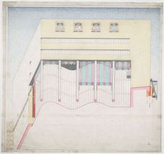 James Stirling - Drawing of Staatsgalerie, Stuttgart, 1978 Architecture Graphics, Architecture Drawings, James Stirling, James Frazer, Worms Eye View, Stuttgart Germany, Le Corbusier, Museum Of Modern Art, Postmodernism