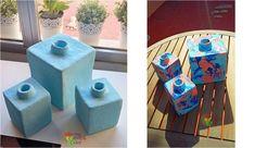 Cuando consigas cartón, toma nota de esta ideas para hacer unos originales jarrones cuadrados. ¡Facilísimo!