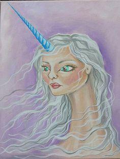 Etsy listing at https://www.etsy.com/listing/243336370/unicorn-lady-print-8x10