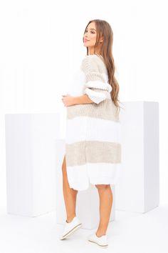Pruhovaný dámsky pletený kardigán béžový Dresses, Fashion, Vestidos, Moda, Fasion, Dress, Gowns, Trendy Fashion, Clothes