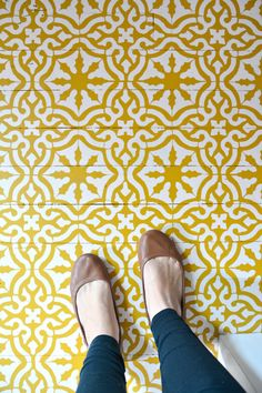 Mustard Yellow Painted Foyer Floor - Hardwood Floor Stencils - Classic Spanish Toledo Tile Stencils for DIY Decorating from Royal Design Studio Stencils - One Room Challenge Project by Petal and Ply