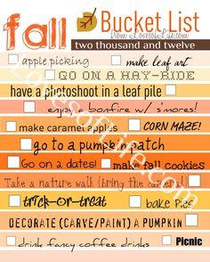 Loves of Life: Fall Bucket List, 2012