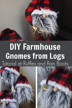 DIY Farmhouse Gnome from Logs I adore this easy gnome tutorial for gnome porch decorations. If you need quick porch decor, this farmhouse gnome tutorial is PERFECT! Click through to get the easy directions for making gnomes! Rustic Christmas Ornaments, Christmas Gnome, Christmas Projects, Christmas Decorations, Gnome Ornaments, Gnome Tutorial, Scandinavian Gnomes, Scandinavian Christmas, Theme Noel